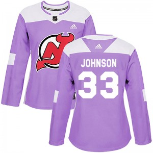 Cam Johnson Women's Adidas New Jersey Devils Authentic Purple Fights Cancer Practice Jersey