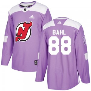 Kevin Bahl Men's Adidas New Jersey Devils Authentic Purple Fights Cancer Practice Jersey